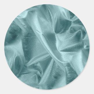 Crumpled Aqua Lame' Metallic Fabric Photograph Classic Round Sticker