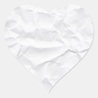 Crumpled arrugó la textura del Libro Blanco en Pegatina En Forma De Corazón