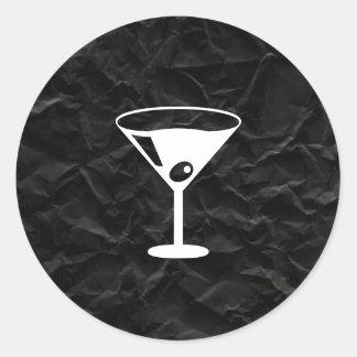 Crumpled Black Paper Classic Round Sticker
