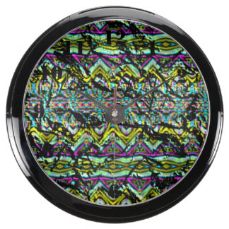 Crumpled colorful pattern fish tank clock