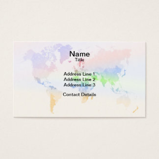 Crumpled Colourful World Map Business Card