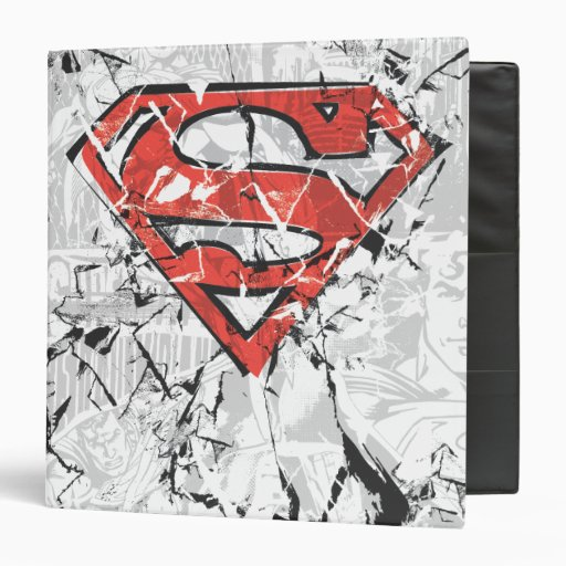 Crumpled Comic Superman Logo 3 Ring Binders