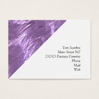 crumpled foil lilac business card
