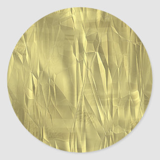 Crumpled Gold Foil Christmas Wrapping Paper Classic Round Sticker
