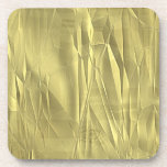 Crumpled Gold Foil Christmas Wrapping Paper Drink Coasters