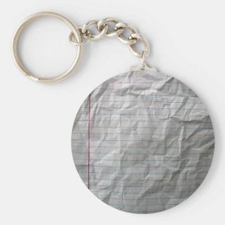 Crumpled Lined Paper Basic Round Button Keychain