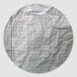 Crumpled Lined Paper Round Stickers