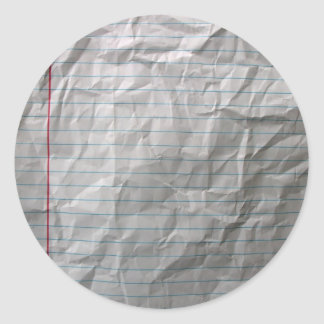 Crumpled Lined Paper Classic Round Sticker