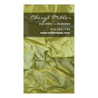 Crumpled Metallic Paper Designer | celery Business Cards