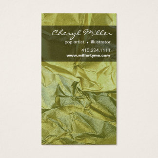 Crumpled Metallic Paper Designer | celery Business Card