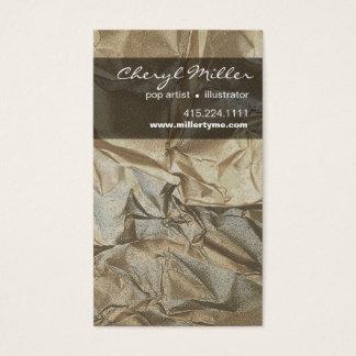 Crumpled Metallic Paper Designer | pewter Business Card