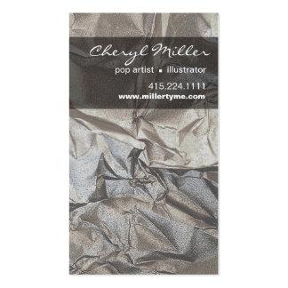 Crumpled Metallic Paper Designer | silver Business Card Template