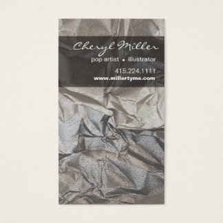 Crumpled Metallic Paper Designer | silver Business Card
