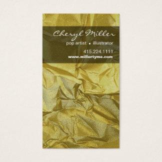 Crumpled Metallic Paper Designer | yellow gold Business Card