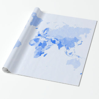 Crumpled Pale Blue World Map Wrapping Paper