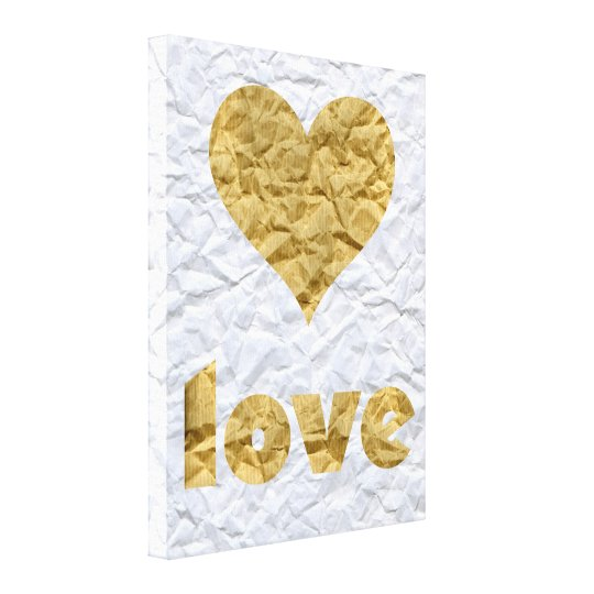 Crumpled Paper Love Heart Canvas Print