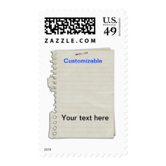 Crumpled Torn Out Notebook Paper Postage Stamps