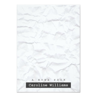 Crumpled white paper personalized flat notecard