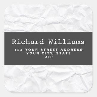 Crumpled white paper return address label square sticker