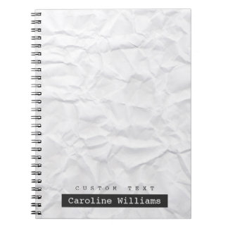 Crumpled white paper texture personalized name spiral note book