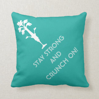 "'CRUNCH ON' 16""x16"" Intense Aqua Pillow"