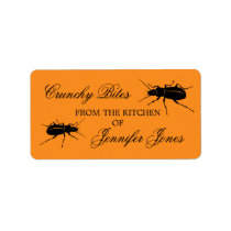 Crunchy bugs beetle Halloween kitchen label Address Label
