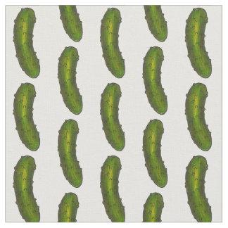 Crunchy Green Dill Kosher Deli Pickle Print Fabric