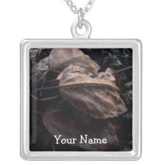 Crunchy Leaf Litter; Customizable Square Pendant Necklace