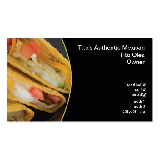 Crunchy taco closeup business card templates