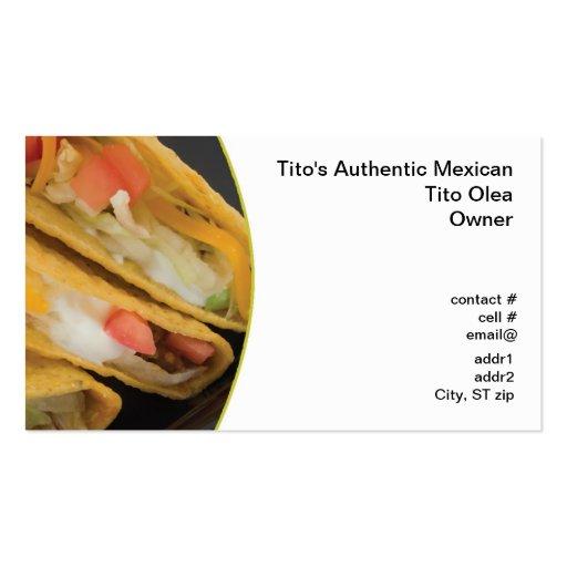 Crunchy taco closeup business card