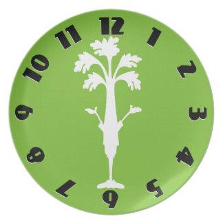 'Crunchy Time' Bright Green Melamine Round Plate