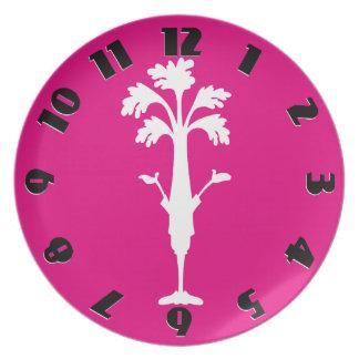 'Crunchy Time' Fuchsia Melamine Round Plate