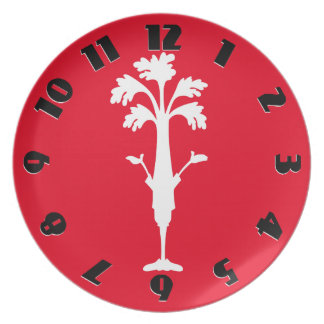 'Crunchy Time' Red Melamine Round Plate