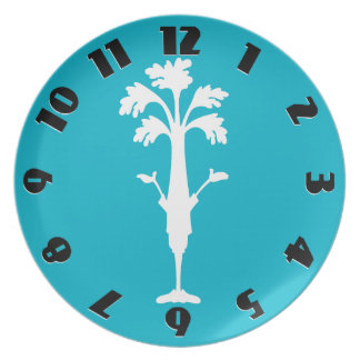 'Crunchy Time' Turquoise Melamine Round Plate