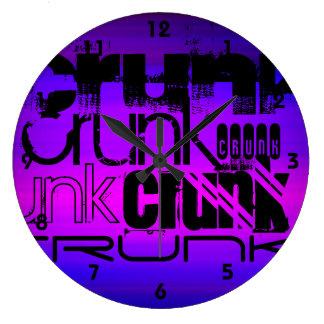 Crunk; Azul violeta y magenta vibrantes Reloj Redondo Grande