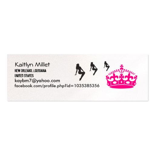 Crunk Girls & Crown Profile Card Double-Sided Mini Business Cards (Pack Of 20)