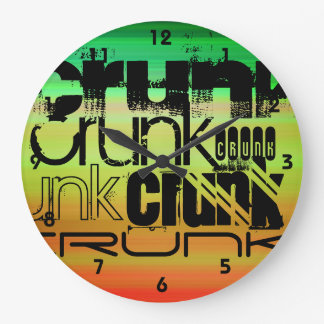 Crunk; Verde vibrante, naranja, y amarillo Reloj Redondo Grande