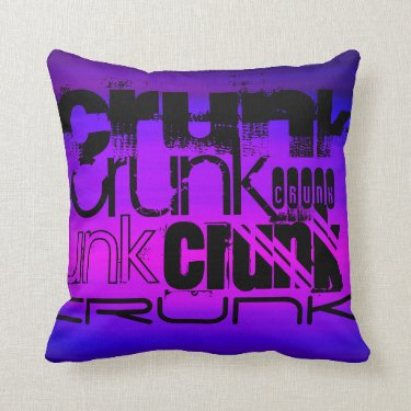 Crunk; Vibrant Violet Blue and Magenta Pillow