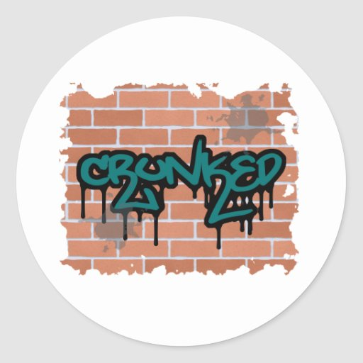 crunked graffiti  design round sticker