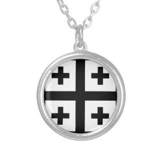 Crusader cross round pendant necklace