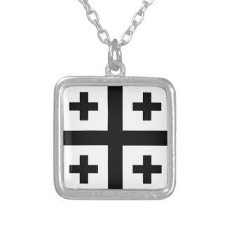 Crusader cross square pendant necklace
