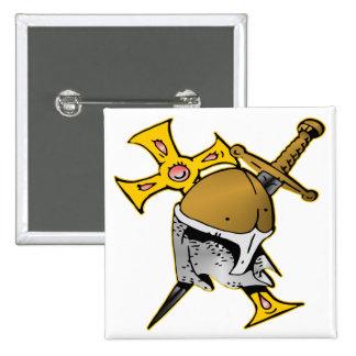 Crusader Helmet Cross & Sword 2 Inch Square Button