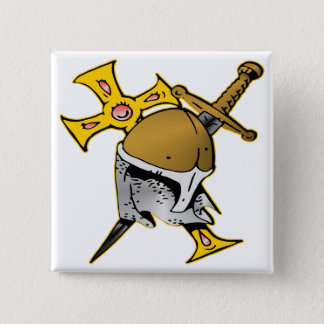 Crusader Helmet Cross & Sword Pinback Button