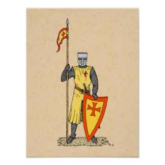 Crusader Knight, Early 13th Century, Poster