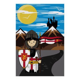 Crusader Knight with Flag Poster