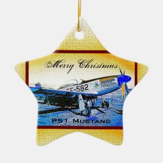 """""""Crusader"""" P51 Mustang © 2009 S.J. Ceramic Ornament"""