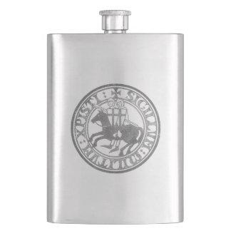 Crusader Templar Knights Seal logo Deus Vult black Flask