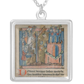 Crusaders bombard Nicaea with heads in 1097 Square Pendant Necklace