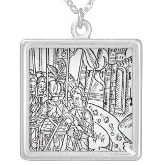 Crusaders, printed by Wynkyn de Worde Square Pendant Necklace