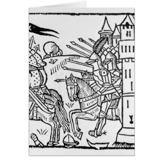 Crusading knights ride out to do Battle Greeting Card